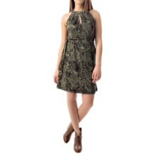 Printed Keyhole Dress - Sleeveless (For Women) in Olive/Black - 2nds