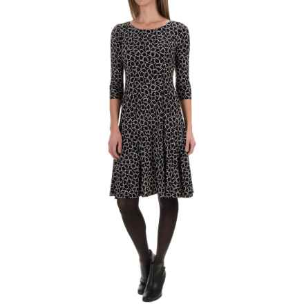 Printed Knee-Length Dress - 3/4 Sleeve (For Women) in Black/Chain Links - 2nds