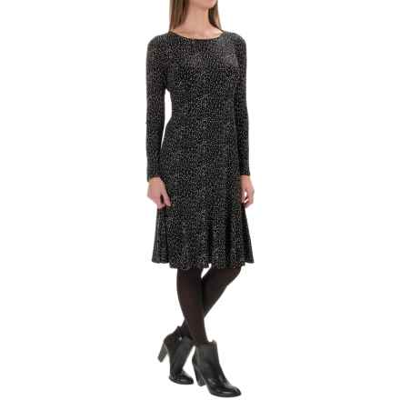 Printed Knee-Length Dress - 3/4 Sleeve (For Women) in Black/Dots - 2nds