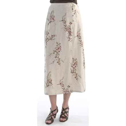 Printed Linen Skirt - Mock Toggle (For Women) in Natural - 2nds