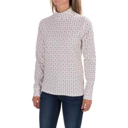 Printed Mock Turtleneck - Cotton, Long Sleeve (For Women) in Ivory/Red Print - 2nds