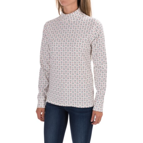 Printed Mock Turtleneck - Cotton, Long Sleeve (For Women)