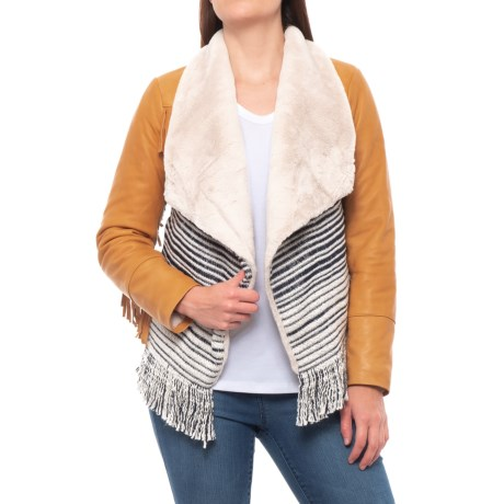 Image of Printed Open-Front Cardigan Sweater (For Women)