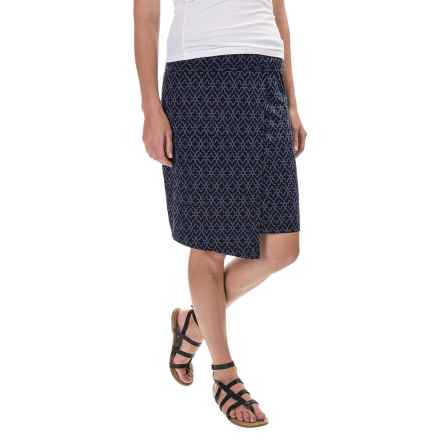 Printed Stretch-TENCEL® Faux-Wrap Skirt (For Women) in Navy - 2nds