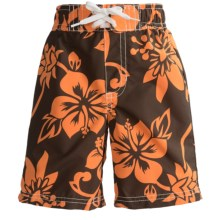 Printed Swim Trunks (For Infant and Toddler Boys) in Brown/Orange Hawaiian - 2nds