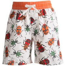 Printed Swim Trunks (For Infant and Toddler Boys) in White/Orange Bug Print - 2nds