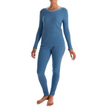 Printed Thermal Pajamas - Long Sleeve (For Women) in Blue - 2nds