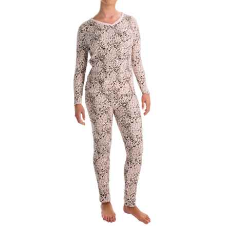 Printed Thermal Pajamas - Long Sleeve (For Women) in Pink - 2nds
