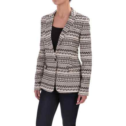 Printed Woven Cotton-Blend Blazer (For Women) in Black/White Print - Closeouts