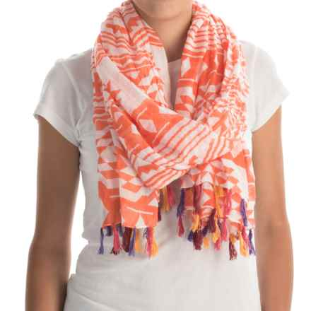 Printed Woven Scarf (For Women) in Orange Aztec - 2nds