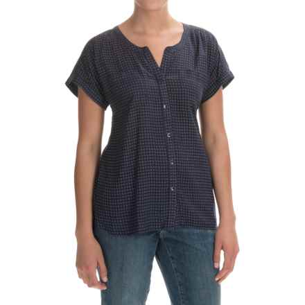 Printed Woven Shirt - Short Sleeve (For Women) in Navy - 2nds