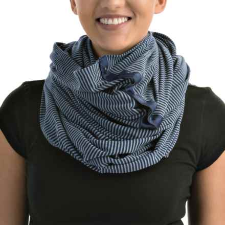 Printed Wrap Scarf (For Women) in Blue Stripe - 2nds