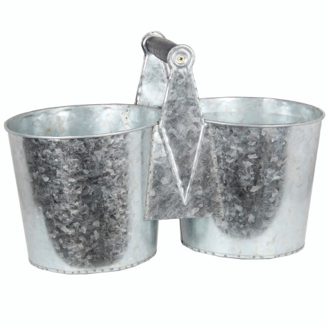 Privilege Galvanized Metal Double Planter in Silver