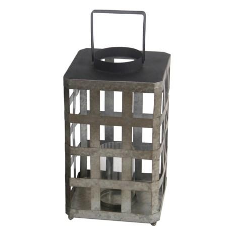 Privilege Large Square Iron Lantern in Silver