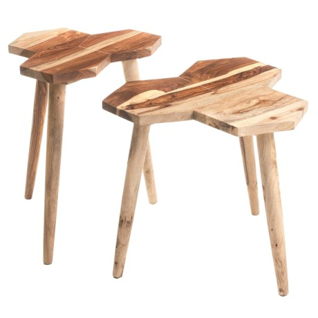 """Privilege Wood Accent Tables - Set of 2, 22x22x23"""" in Natural"""