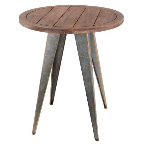 Privilege Wood and Iron Accent Table in Natural/Silver