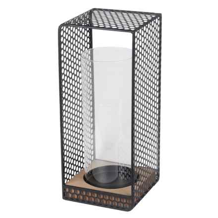 Privilege Wood and Iron Lantern - Large in Natural/Black - Closeouts