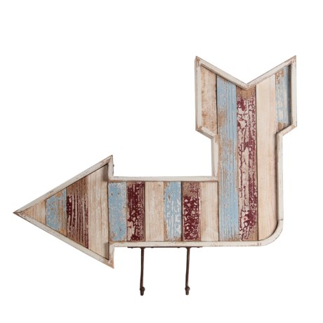 """Privilege Wooden Arrow Wall Decor - 22x27"""" in Blue/Natural"""
