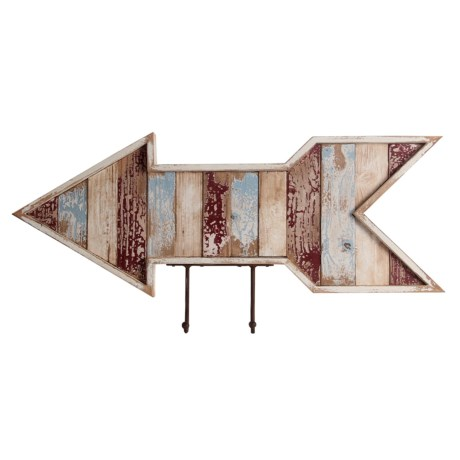 """Privilege Wooden Wall Decor Arrow - 12x28"""" in Blue/Natural"""