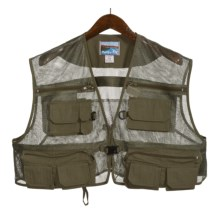 Pro Cam-Fis Mesh Shorty Fly Fishing Vest (For Men) in Green - 2nds