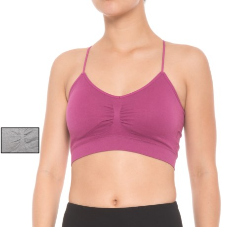 Pro-Fit Circle Back Sports Bra - 2-Pack, Medium Impact (For Women) in Light Heather Grey/Boysenberry