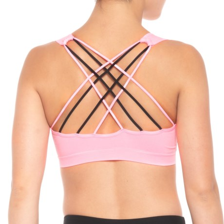 Pro-Fit Contrast Strappy Back Sports Bra - Low Impact (For Women) in Pink Sherbert