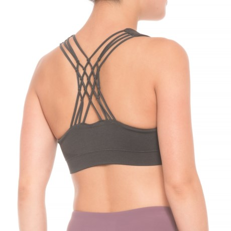 Pro-Fit Knotted Back Sports Bra - Low Impact (For Women) in Charcoal