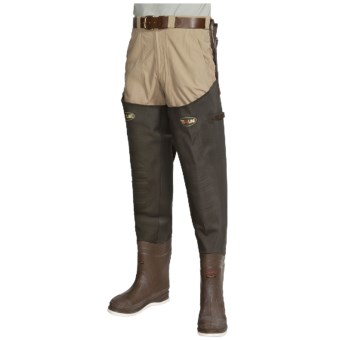 Pro Line 3-Ply Stretch Hip Waders - Felt Sole, Insulated (For Men) in Brown
