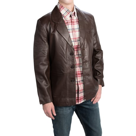 Leather World by Lucky Leather Brown Lambskin Jacket (For Men)