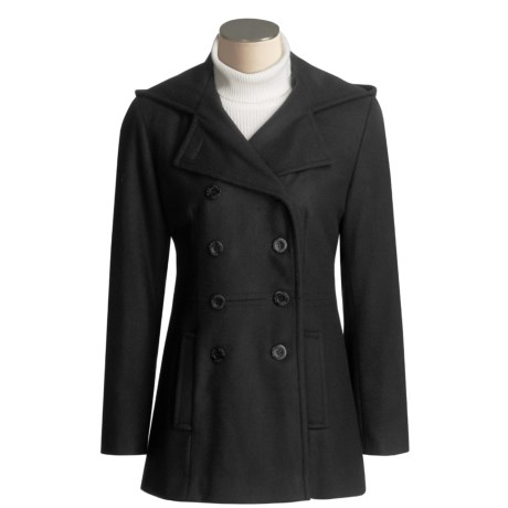 Trendz Hooded Pea Coat with Belted Back - Double-Breasted  (For Women)
