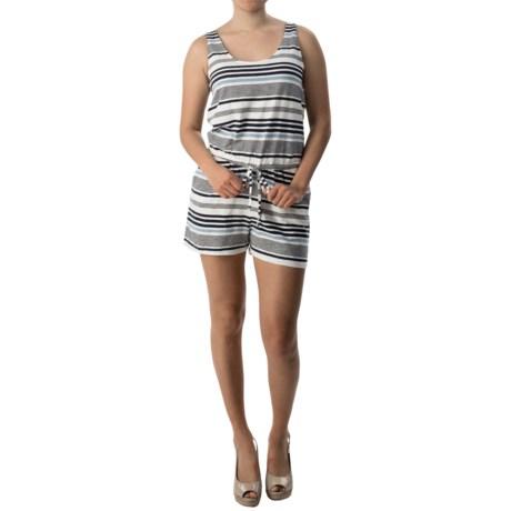 Slub-Knit Striped Romper - Sleeveless (For Women)