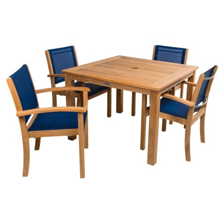 Three Birds Casual Newport Square Dining Table with Riviera Stacking Armchairs