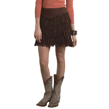 Stetson Fringed Suede Skirt - Satin Lining (For Women)