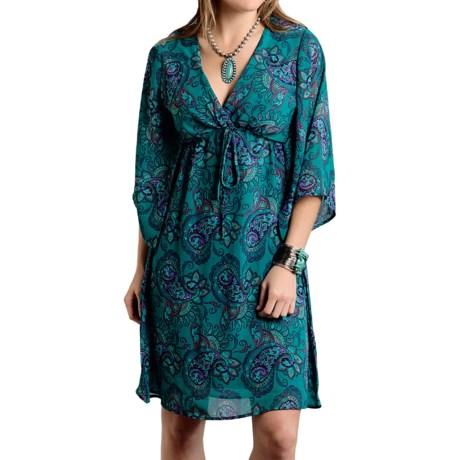 Roper Georgette Dress - 3/4 Sleeve (For Women)