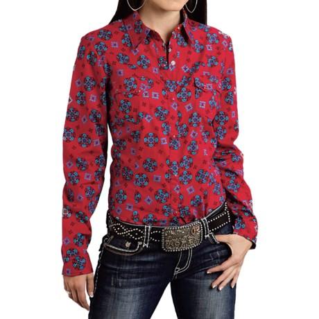 Roper Medallion Print Western Shirt - Snap Front, Long Sleeve (For Women)