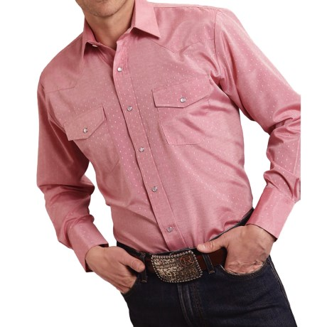 Roper Classic Tone-on-Tone Shirt - Snap Front, Long Sleeve (For Men and Big Men)