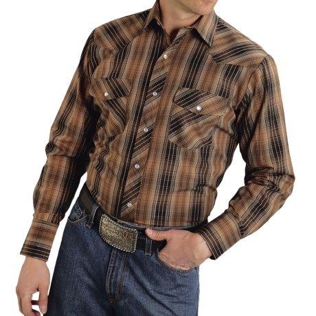 Roper Classic Metallic Plaid Shirt - Snap Front, Long Sleeve (For Men and Big Men)