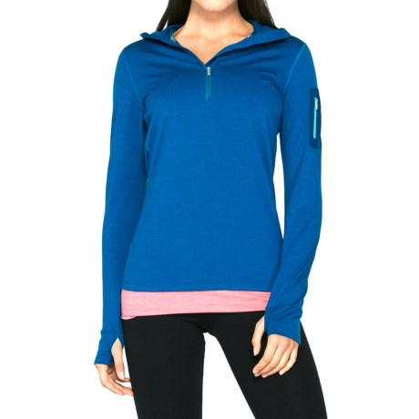 Icebreaker Terra Hooded Shirt - Merino Wool, Zip Neck (For Women)