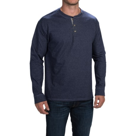 Hanes Beefy-T Heathered Henley Shirt - Long Sleeve (For Men and Big Men)