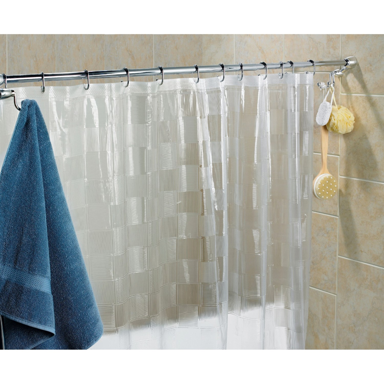 Polder home tools una shower curtain rod 1044t save 52 for Shower curtain savers