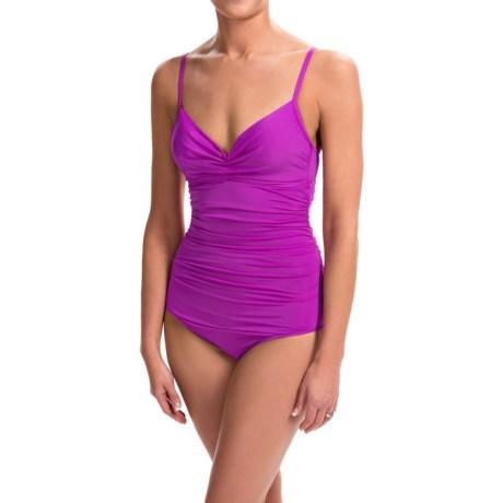 Badgley Mischka Shirred Mio One-Piece Swimsuit (For Women)