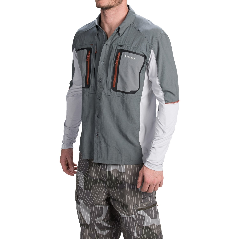 Simms taimen tricomp fishing shirt for men 104vf save 46 for Fly fishing sun shirt