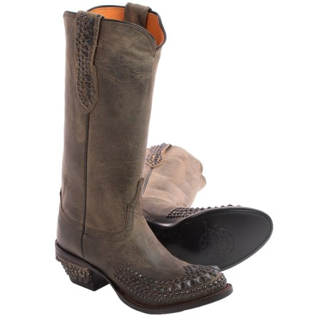 Lucchese Studded Cowboy Boots - Leather, Round Toe (For Women)