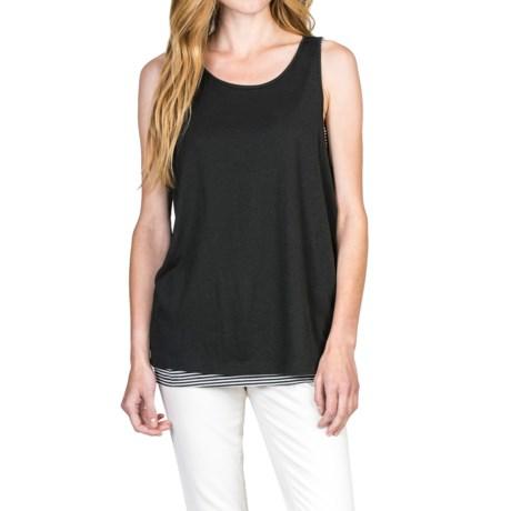 Lilla P Striped Double-Layer Tank Top - Pima Cotton-Modal (For Women)