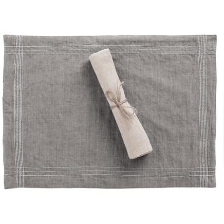 "Coyuchi Simple Stitch Chambray Placemat - 14x20"", Organic Cotton-Linen"