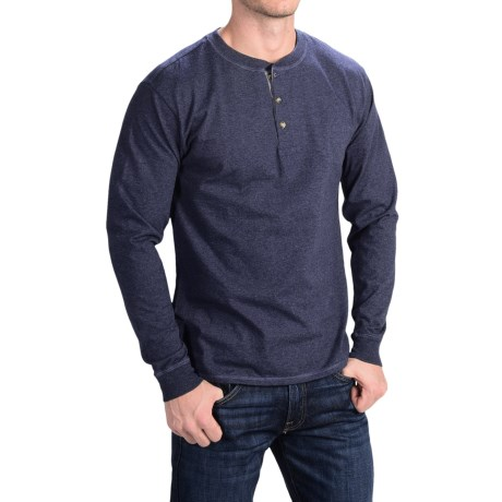 Hanes Beefy-T Henley Shirt - Long Sleeve (For Men)