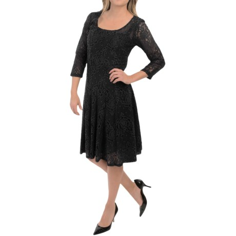 Chetta B Lace Fit-and-Flare Dress - Long Sleeve (For Women)