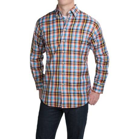 Scott Barber Andrew Cotton Dobby Plaid Shirt - Long Sleeve (For Men)