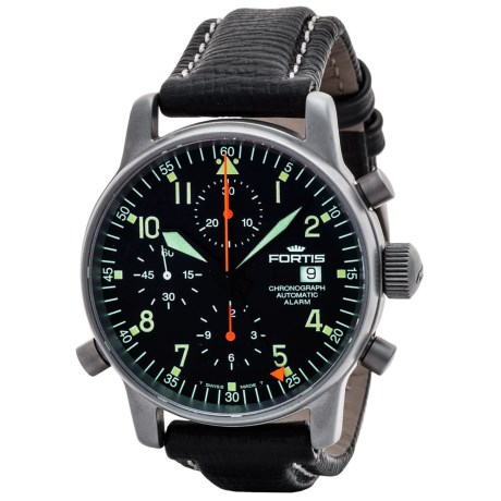 Fortis Flieger Alarm Chronograph Watch - Leather Strap (For Men)