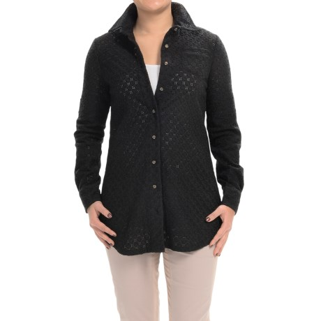 XCVI Reporter Cotton Eyelet Blouse - Tunic Length, Long Sleeve (For Women)
